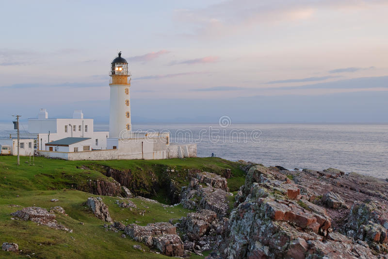 Rua Reidh Lighthouse in evening light, Scotland. Rua Reidh Lighthouse in evening light (Cape Rua Reidh, Scotland royalty free stock image