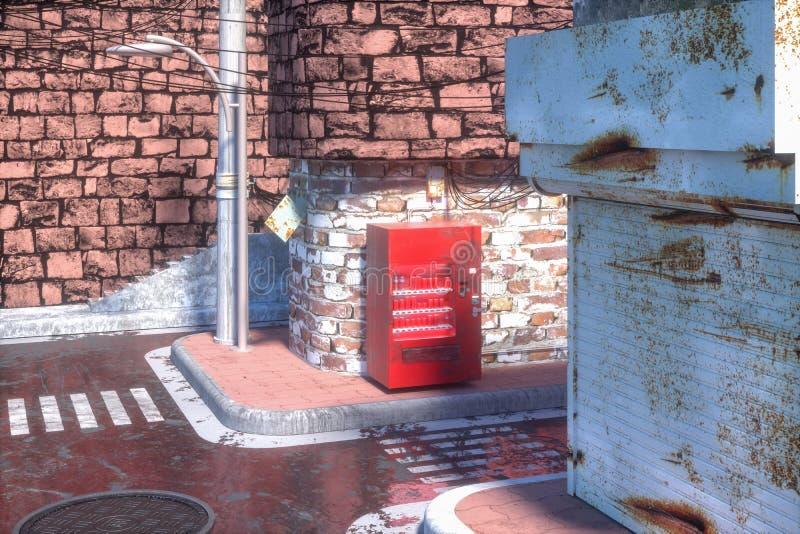 A rua retro da cidade com construções de tijolo pela estrada, rendição 3d ilustração royalty free