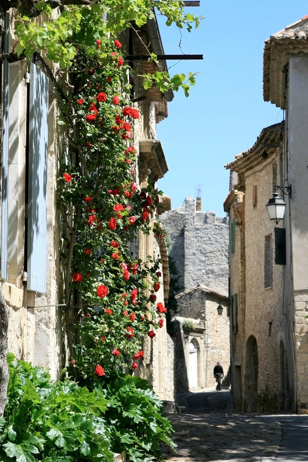 Rua romântica com as rosas na cidade francesa velha fotos de stock