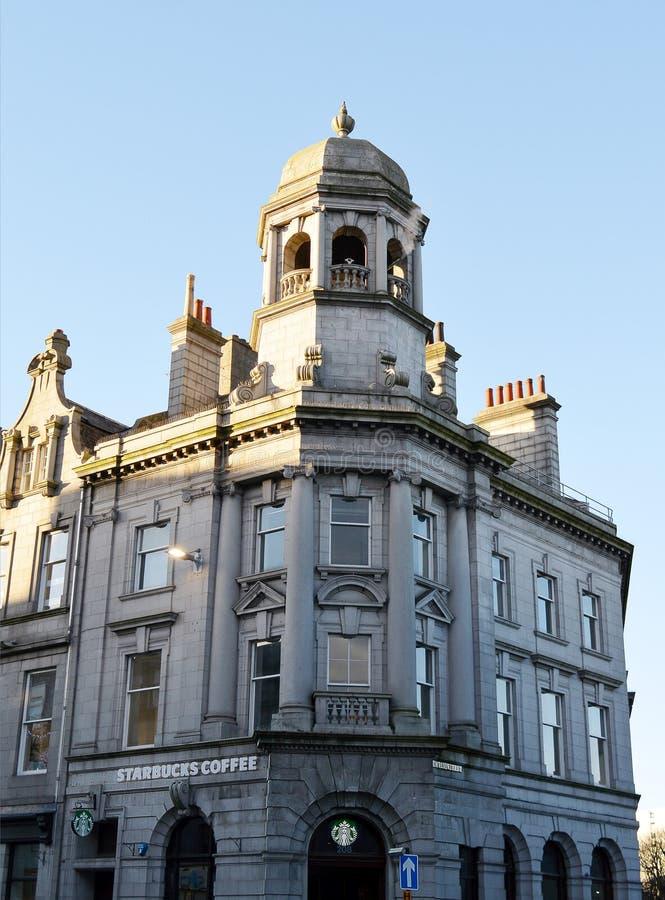 Rua Tarde-vitoriano da união da construção, Aberdeen fotografia de stock royalty free