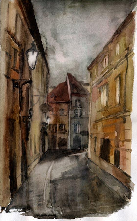 Rua velha. Aguarela. ilustração do vetor