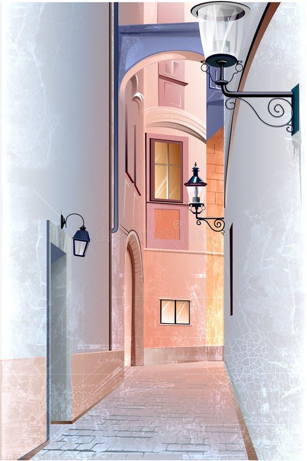 Rua velha da cidade ilustração royalty free