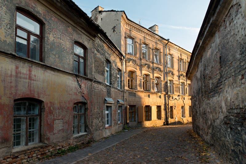 Rua velha da cidade de Vilnius fotografia de stock