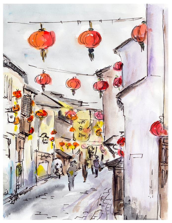 Rua velha da cidade em China, lanternas do vermelho do chinês tradicional ilustração do vetor