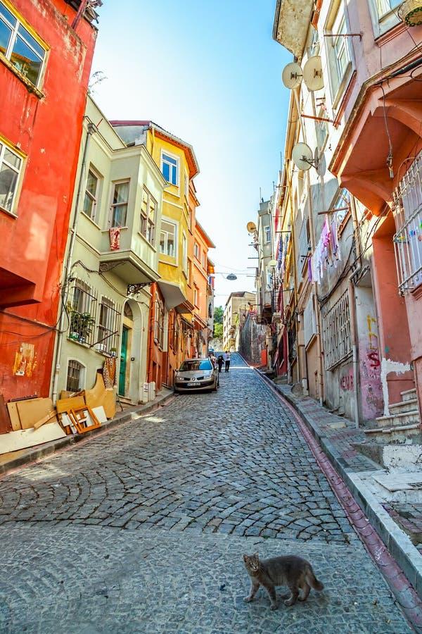 Rua velha de Istambul - distrito de Phanar fotografia de stock royalty free