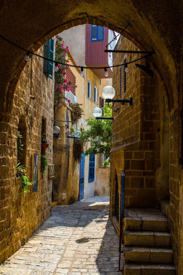 A rua velha de Jaffa, Tel Aviv imagens de stock