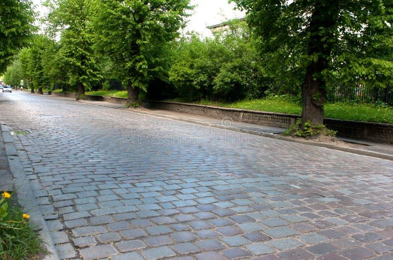 Rua velha do pavimento imagem de stock