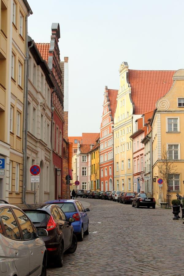 Rua velha em Stralsund, Alemanha fotos de stock