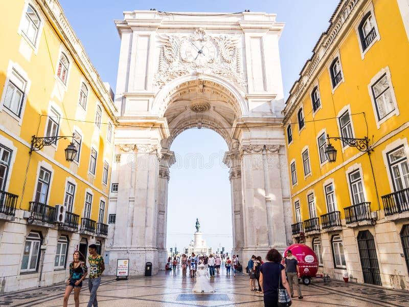Ruaen Augusta Arch i Lissabon, Portugal royaltyfria foton