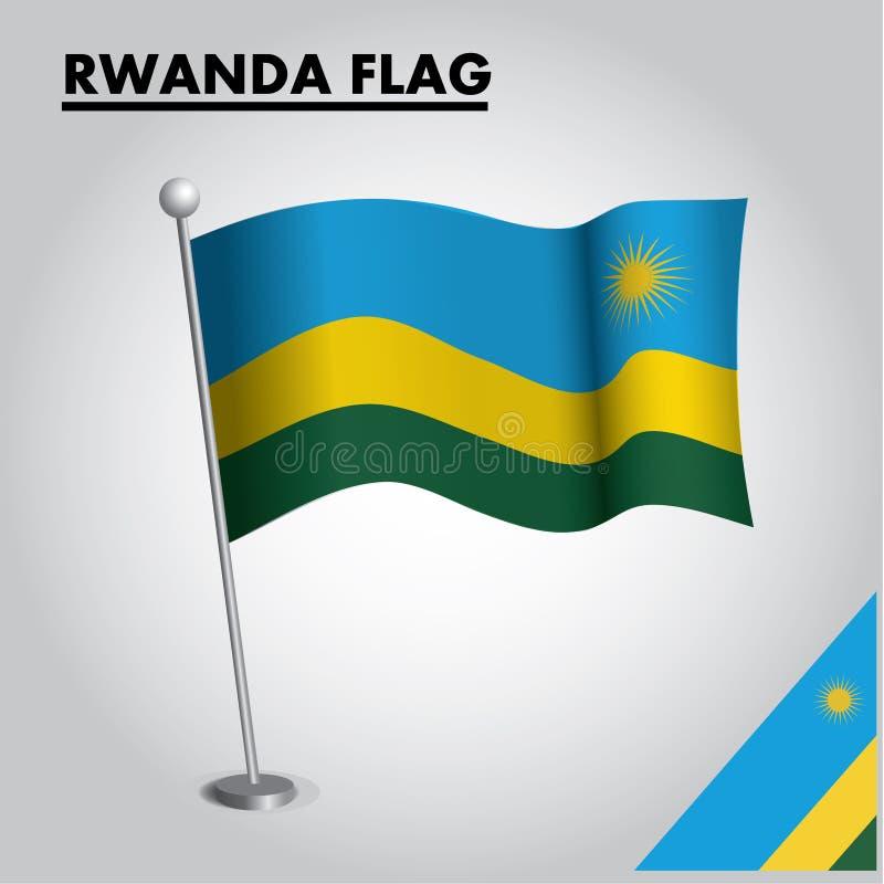 RUANDA-Flagge Staatsflagge von RUANDA auf einem Pfosten stock abbildung