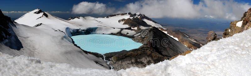 ruapehu панорамы держателя озера кратера стоковое изображение