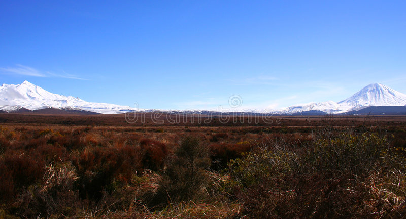 Ruapehu und Ngaurahoe lizenzfreies stockbild