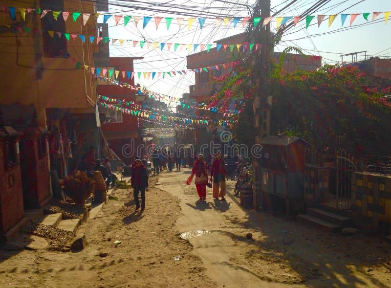 Ruas aglomeradas de kathmandu imagem de stock royalty free