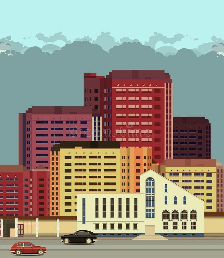 Ruas da cidade do fundo no estilo liso ilustração royalty free