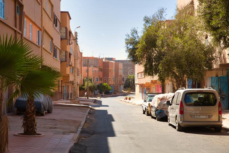 Ruas da cidade marroquina Tiznit, Marrocos 2017 imagens de stock royalty free
