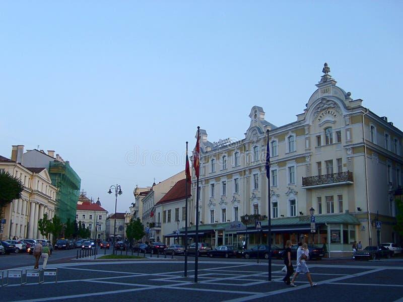 Ruas da cidade velha de Vilnius, Lituânia foto de stock
