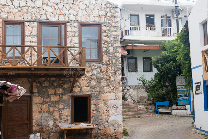 Ruas da vila de Uchagiz em Antalya imagens de stock