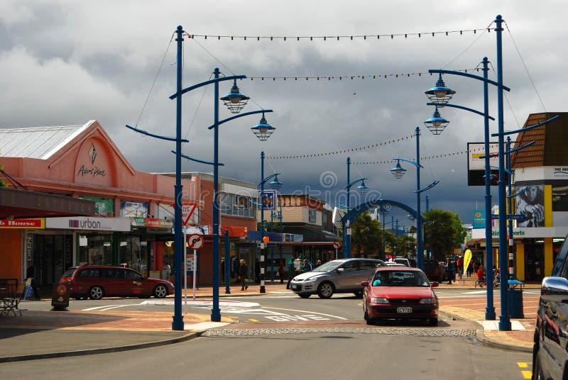 Ruas de Blenheim sob nuvens de tempestade fotografia de stock