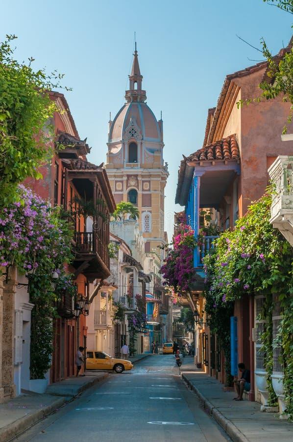 Ruas de Cartagena, Colômbia foto de stock royalty free