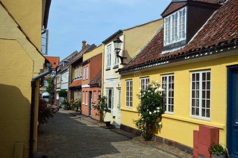 Ruas de Faaborg, Dinamarca imagem de stock royalty free