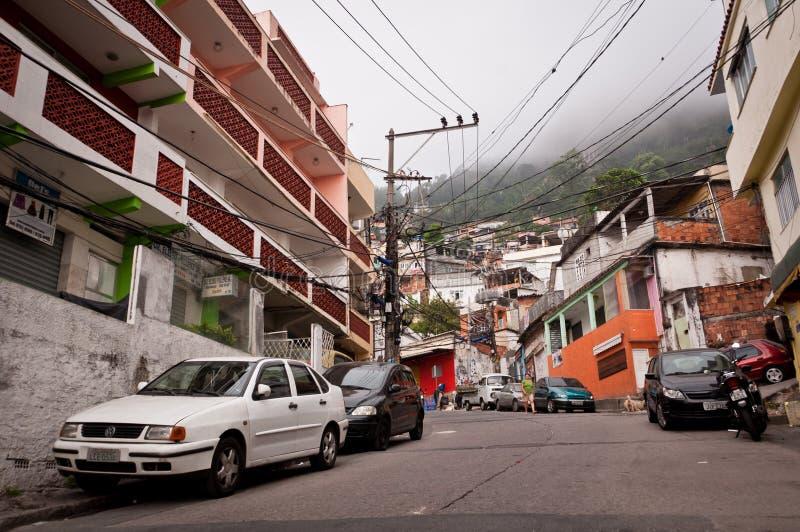 Ruas de Favela Vidigal em Rio de janeiro imagens de stock