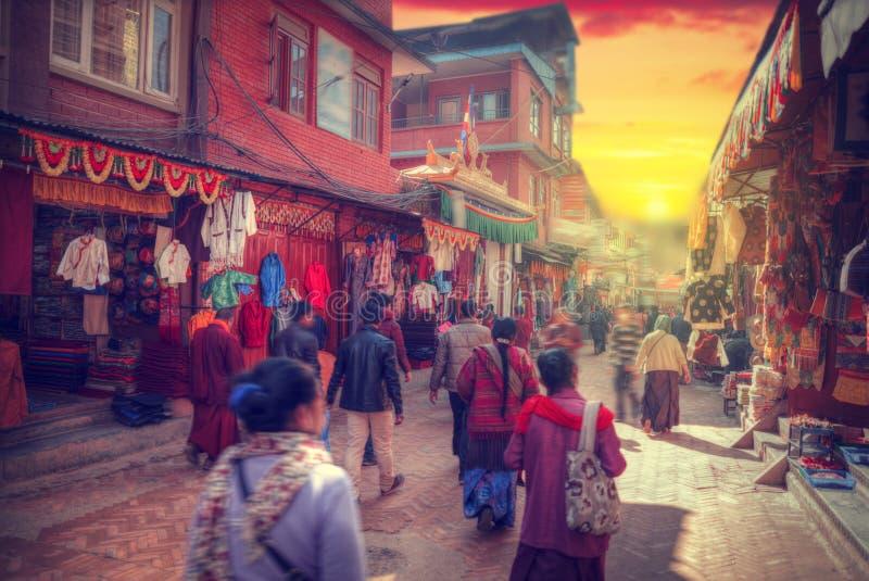 Ruas de Kathmandu fotografia de stock