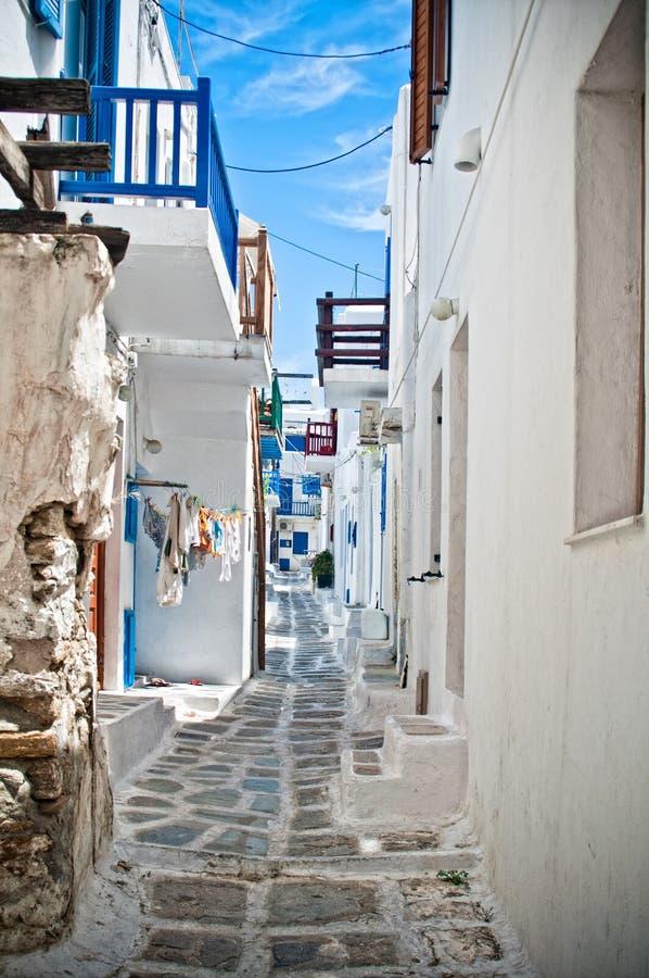Ruas de Mykonos fotos de stock royalty free