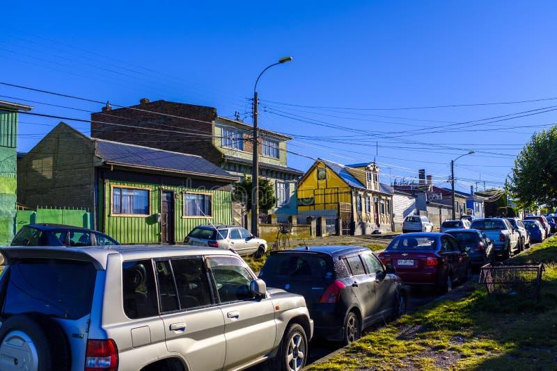Ruas de Punta Arenas, o Chile fotografia de stock