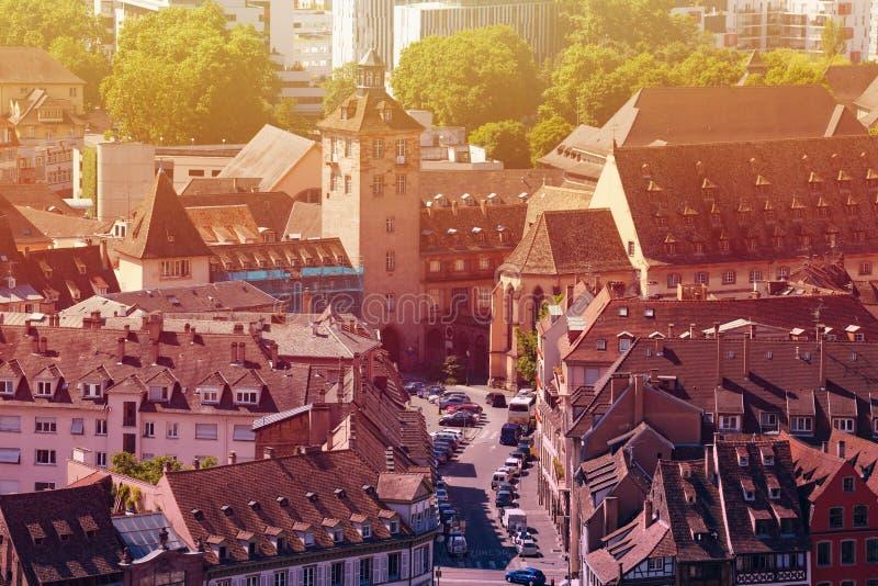 Ruas de Strasbourg na cidade de cima de, França fotografia de stock royalty free