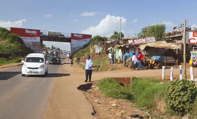 Ruas do kikuyu, Kenya, editorial fotografia de stock royalty free