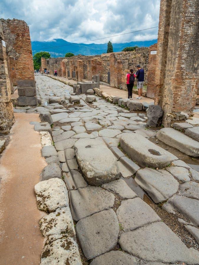 Ruas e casas de campo de Pompeii, Itália Lista do patrimônio mundial fotografia de stock royalty free