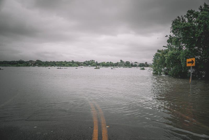 Ruas inundadas durante o furacão Harvey imagens de stock