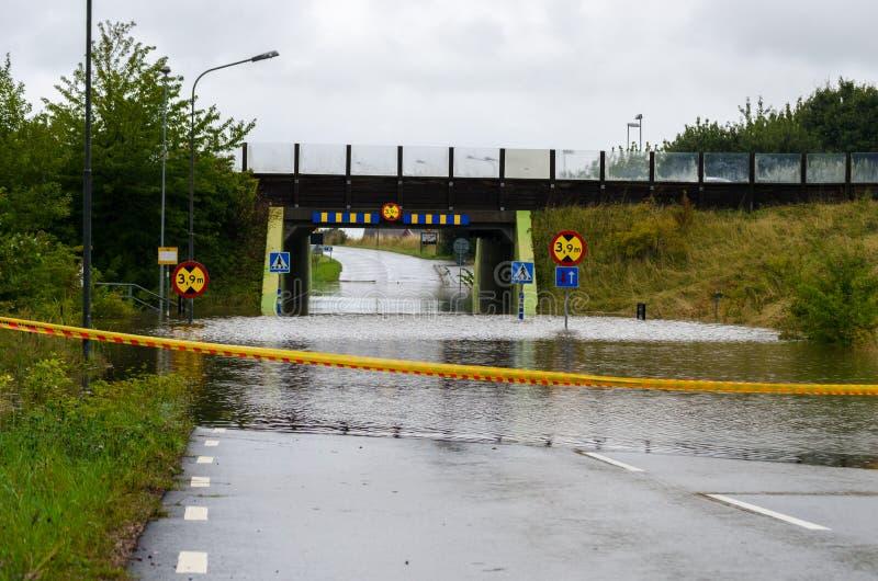 Ruas inundadas na Suécia fotos de stock
