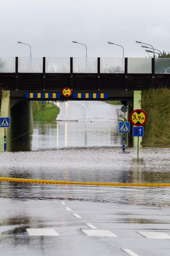 Ruas inundadas na Suécia fotografia de stock royalty free