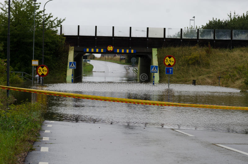 Ruas inundadas na Suécia foto de stock royalty free