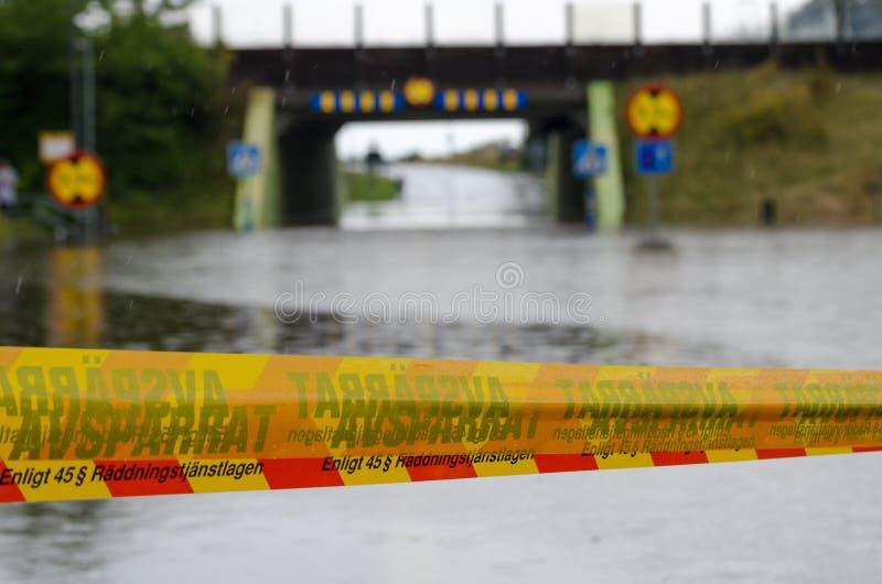 Ruas inundadas na Suécia imagens de stock royalty free