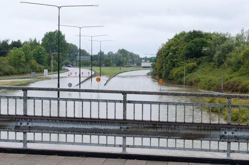 Ruas inundadas na Suécia fotografia de stock