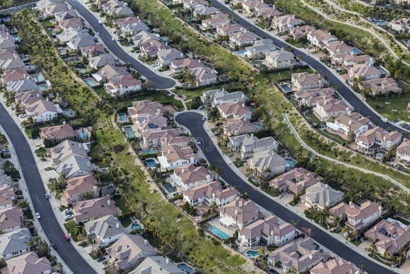 Ruas suburbanas limpas do sul de Califórnia aéreas fotos de stock
