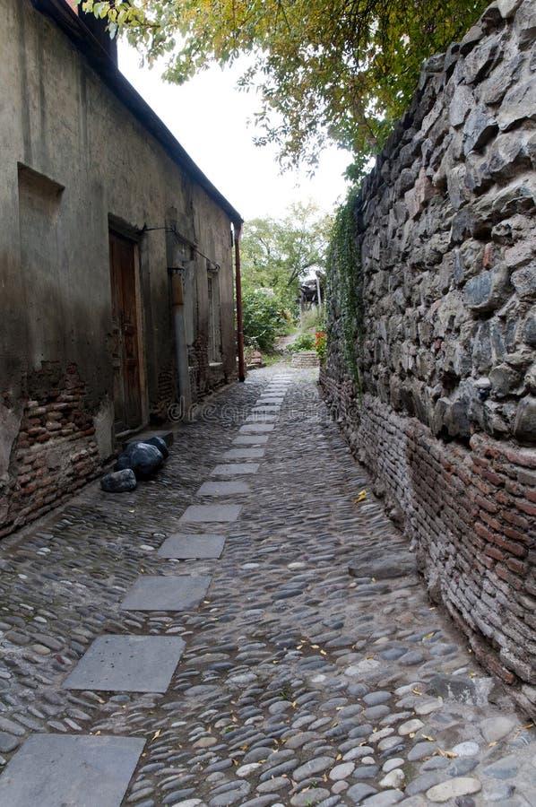Ruas velhas da pedra do granito no estilo do vintage foto de stock royalty free