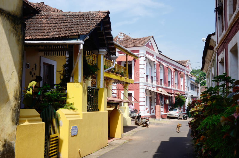 Ruas velhas de Panaji, capital do estado de Goa fotos de stock