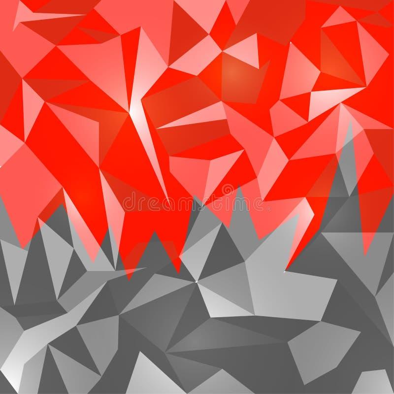 Rubí del rojo del diseño del polígono del extracto del fondo de los vectores ilustración del vector