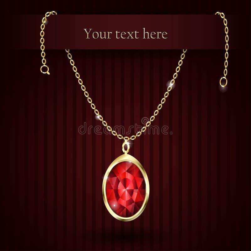 Rubí hermoso del rojo de la piedra preciosa stock de ilustración
