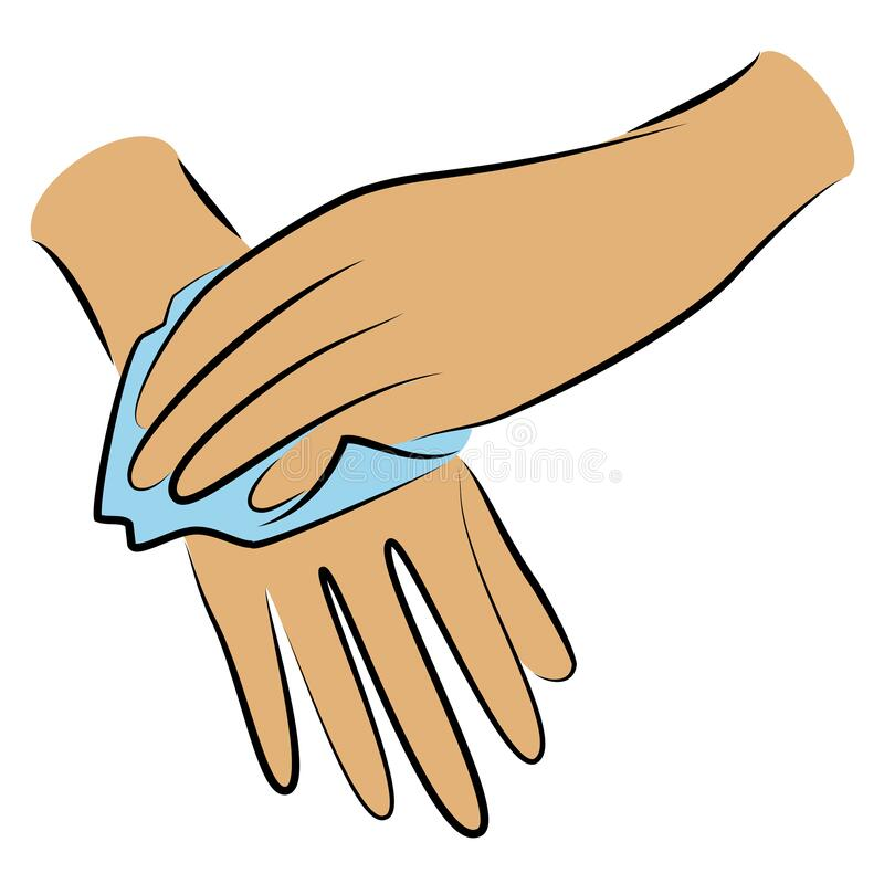 Free Rub Your Hands With A Clean Towel. Hygienic Procedure. Disease Prevention, Good For Health. Vector Illustration Royalty Free Stock Photo - 182856255