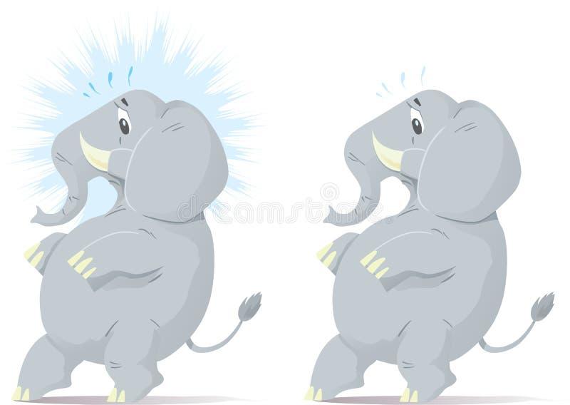 Rubacchiando, elefante nervoso. royalty illustrazione gratis