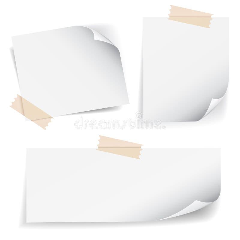 Ruban adhésif de note de papier blanc de vecteur et ensemble de boucle de page illustration stock