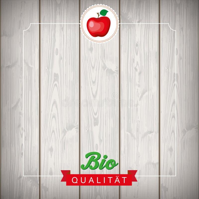 Ruban Apfel en bois bio Qualitaet d'emblème illustration stock