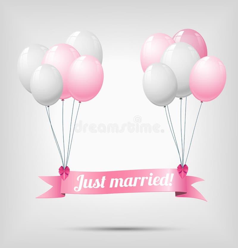 Ruban avec le texte juste marié et les ballons illustration stock
