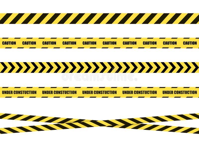 Ruban, bande d'isolement sur le fond blanc, noir et jaune de signe de danger de vecteur illustration de vecteur
