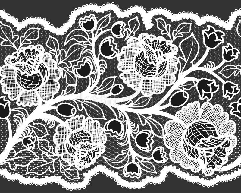 Ruban blanc sans couture abstrait de dentelle avec le modèle floral féminin illustration de vecteur