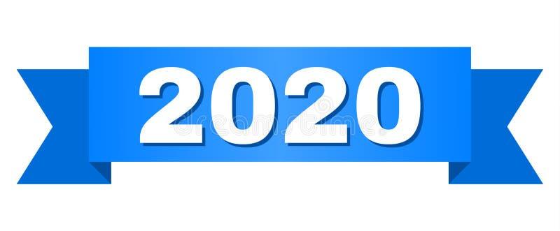 Ruban bleu avec le texte 2020 illustration libre de droits
